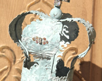 Embellished Metal crown, crown decor, cake topper, Mediterranea Design Studio, french antique, distressed crown, wedding decor, shabby chic