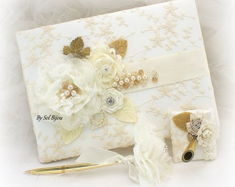 Ivory and Gold Wedding Guest Book,Lace Wedding Signature Book,Personalized Sign In Book,Vintage Wedding,Wedding Pen and Holder,Guestbook