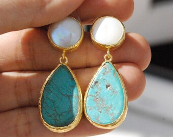 Turquoise drops, and Pearl Stud long dangling Earrings in 925K sterling silver coated in 18K gold, turquoise and pearl big earrings