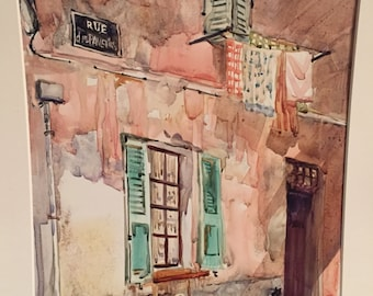Parisian Side Street with Black Cat, Original Watercolor Painting