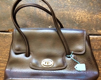 "SALE WAS 15 Vintage brown large top handle handbag Bag 12"" x 9"" x 4"" Strap 21"""