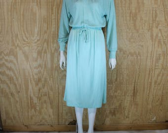 Vintage 1970's VICKY VAUGHN Mint Green Boucle Knit Shimmer Midi Dress Medium