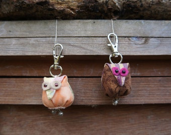 A little fabric Owl Key-ring