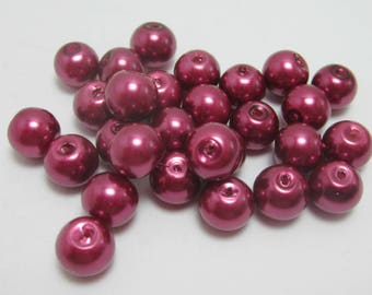 Wine Glass Pearls, 8mm Loose Beads, Dark Red Burgundy Pearl, 20 Beads, 3965