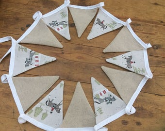 Sophie Allport Horse Riding Fabric Bunting. 12 Flags. Approximately 7ft in length.
