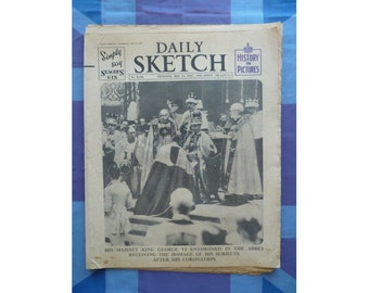 1937 British Royal Coronation Vintage Newspaper. Daily Sketch Original