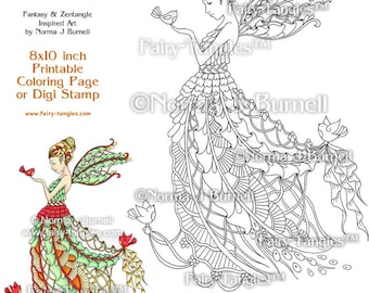 Yule Time Christmas Fairy and birds Printable Coloring book Sheets or Digi Stamps Norma J Burnell Coloring Book Pages Fairies to color