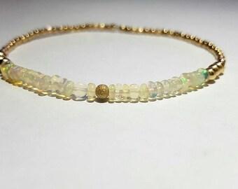 Opal and gold dainty bracelet