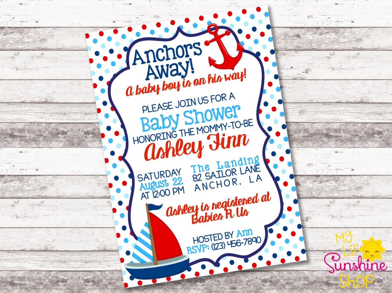 Nautical Baby Boy Shower Invitation Anchors Away Baby Boy on