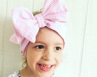 Pink seersucker headwrap