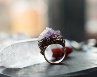Amethyst ring, electroformed ring, crystal point ring, amethyst crystal, raw amethyst ring, natural, statement ring, raw crystal ring
