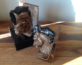 VINTAGE Ceramic HorseHead Bookends~1970's