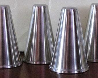 Vintage Set of 4 1960s Stainless Steel Salt & Pepper Shakers