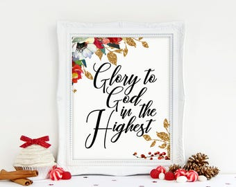 Christmas Printable, Glory to God in the Highest Print, Watercolor Printable, Instant Download, 8 x 10 Digital, Christmas Art, Watercolor