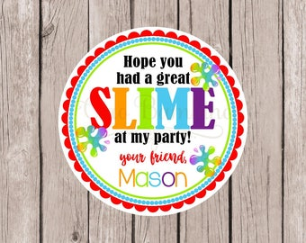 Slime Birthday Party Favor Tags or Stickers / Personalized Tags for Homemade Slime / Cute Birthday Party Favor for Kids / Set of 12