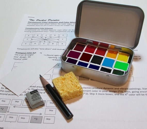 MINI WATERCOLOR PALETTE Kit With Artist Grade Paints In Full