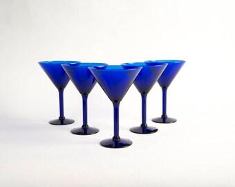 Vintage Cobalt Blue Martini Glasses Set of Five (5) Vintage Bar Ware Vintage Drink Ware Vintage Bar Cart Glasses