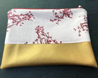 Japanese cherry blossom and gold leatherette clutch