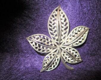 Vintage silver Leaf Pin