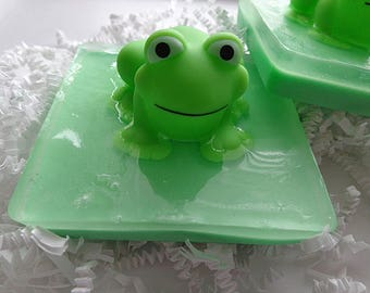 2 Frog on Lily Pad Soap Bars, Children, Frogs, Gifts