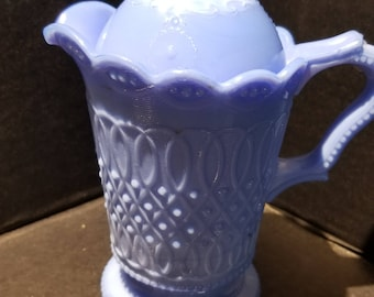 Child's Blue Milk Glass Pitcher with Lid