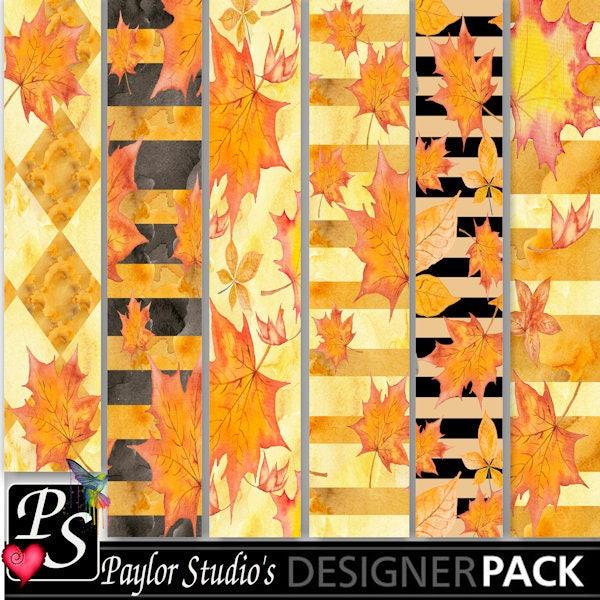 Fall Watercolor Digital Scrapbook Kit Digital Paper Printable
