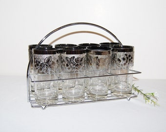 SALE......Vintage Glasses Eight Silver Etched with Carrier