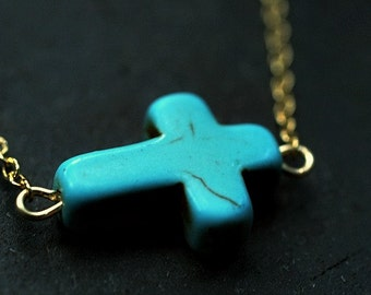 Turquoise Sideways Cross Necklace -- sale
