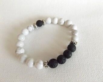 White Howelite Lava Bead Bracelet