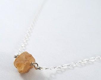 Raw Topaz Captive Stone  Necklace (Sterling Silver)