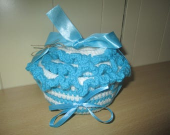Set of 3 baskets or baskets crocheted turquoise blue color