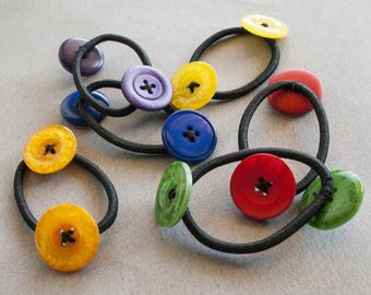 Buttons Hair Ties | Blue buttons hairtie, Yellow Hair Tie, Green Hair Tie, Red Buttons Hairtie, Purple Hair Tie, Orange Hair Tie