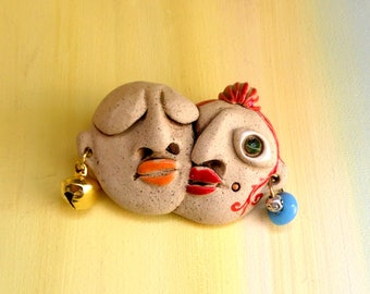 Ceramic brooch, Clay brooch, Large brooch, Lovers embracing, Ceramics and pottery, Gift for mom, Israeli art, Statement jewelry, Fashion art