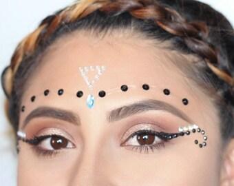 PixieLust Face Jewels Gem Bindi Body Jewelry Stickers Rhinestone Tattoo  - black/teal