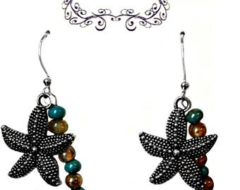 Starfish Earrings, Cool Earrings, Beach Jewelry, Beaded Earrings, Wire Wrapped, Handmade Jewelry, Turquoise Bead, Charm Earrings, Dangle