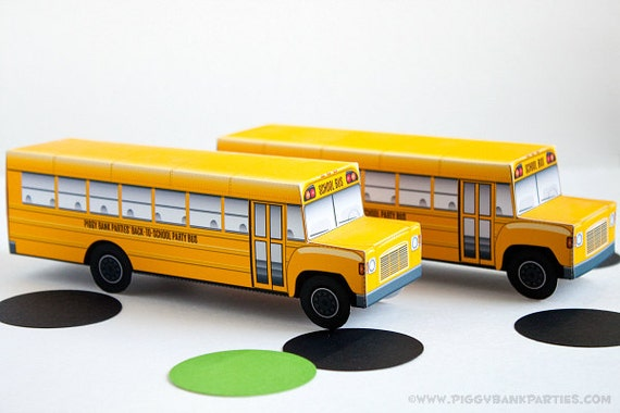 School Bus Favor Box : DIY Printable Yellow Bus Gift Box