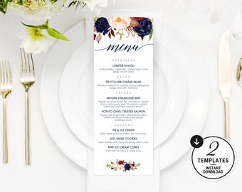 Printable Wedding Menu Template, Navy Wedding Menu, Floral Menu, Wedding Menu Template, Wedding Menu Card