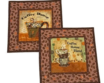 Coffee Themed Mug Rug Set, Gift for Coffee Lover, Quilted Mug Rug, Coffee Mat, Coffee Decor, Gift for Coworker, Coffee Trivet