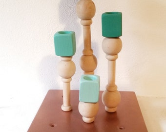 Wooden candle holder with 4 candles