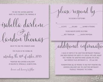 "Shabby Chic Handwritten ""Isabella"" Wedding Invitation Suite - Rustic Whimsy Script Invitations - Digital Printable or Printed Invite"