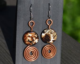 Handmade recycled copper earrings