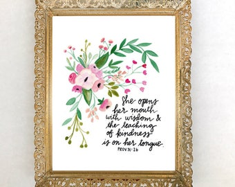 Mother's Day gift for Wife Mother Mom, Proverbs 31 Art Print, Bible Verse Wall Art, Watercolor Flowers, Mother's Day Gift from son daughter