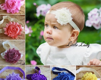 Princess Girl Baby Elastic Headband Hair Band Shabby Flower Rose Christening Wedding Photo Birthday
