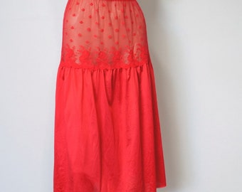Vintage Red Slip Lingerie Half Slip Red Half Slip 1980's Sweet Lace Petticoat Nylon Net Size Medium
