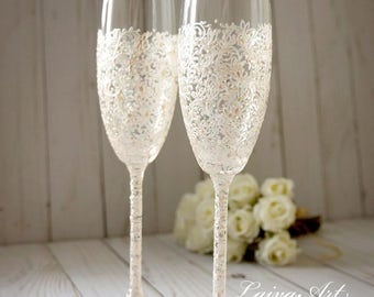 Wedding Champagne Flutes Wedding Champagne Glasses Toasting Flutes  Lace Wedding Decoration Pearly White