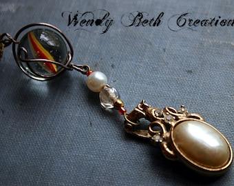 Phoenix Orb - Vintage Assemblage Steam Punk Necklace