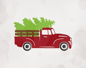Christmas Tree Truck SVG dxf Cricut Silhouette pdf png - vintage tree truck svg chirstmas tree Cut File SVG clipart