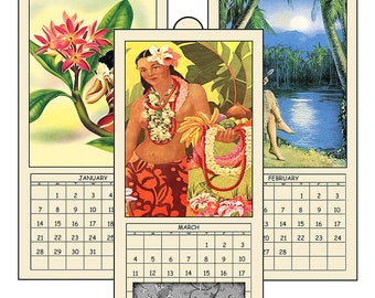 "HALF PRICE  2018 Digital Calendar Printable Downloads 4.8"" X 10"" Vintage Hawaiian Island Girls 12 Different Images Art Calendar 2018 CAL 9"