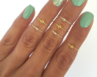6 Simple Bead Midi Rings, in Silver and Gold. Mid knuckle stacking rings you can wear all at once or a few at a time!