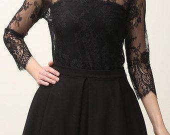 lace blouse, black lace blouse, elegant top, romantic top, party blouse, yersey top